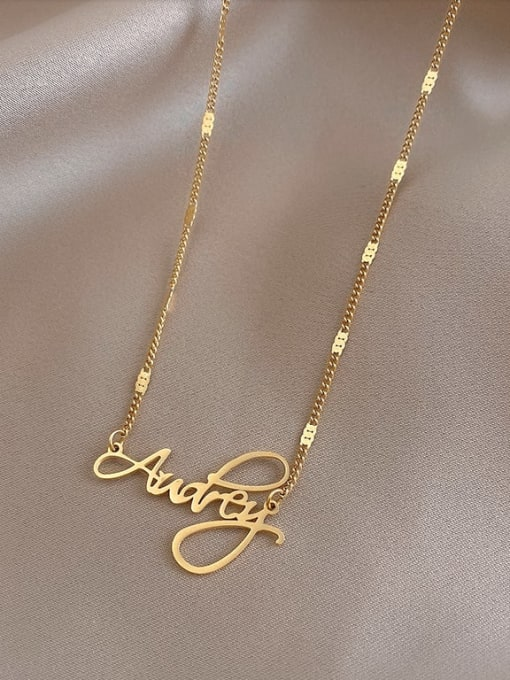A TEEM Titanium Steel  Hollow Letter Minimalist Necklace 0