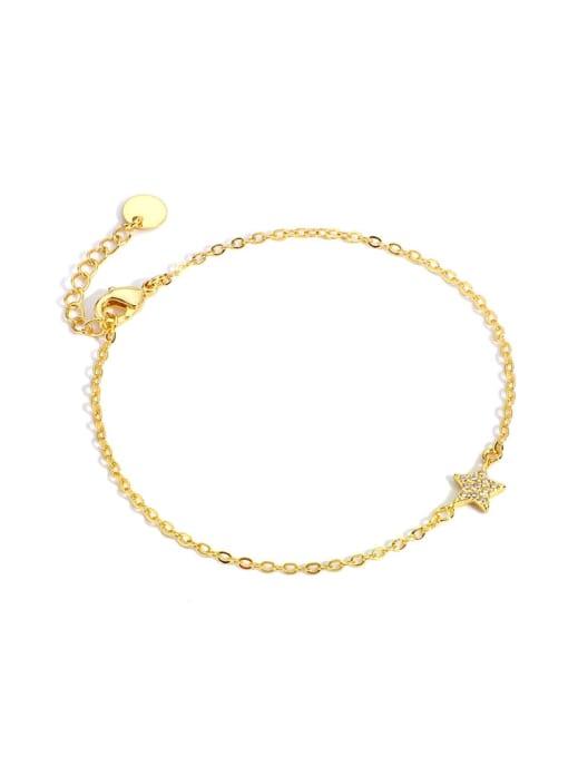 Gold Star Bracelet Brass Cubic Zirconia Star Minimalist Link Bracelet