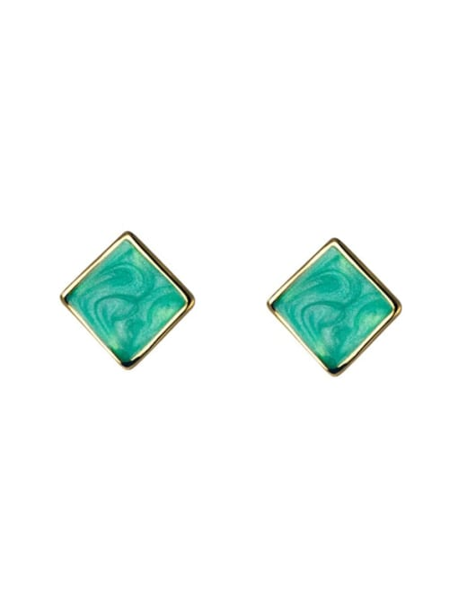 Rosh 925 Sterling Silver Enamel Square Minimalist Stud Earring 0
