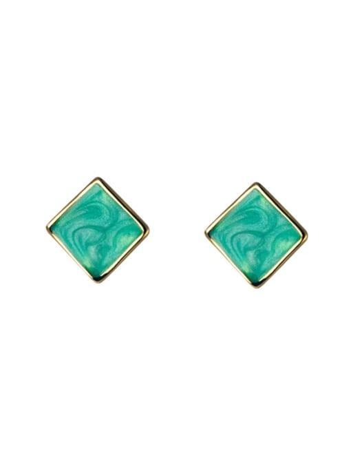 Rosh 925 Sterling Silver Enamel Square Minimalist Stud Earring