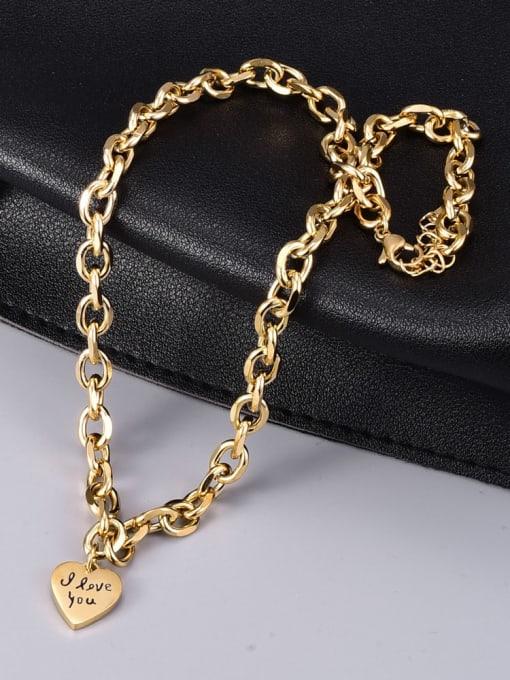 A TEEM Titanium Steel Heart Vintage Geometric  Chain Necklace 2