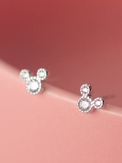 Rosh 925 Sterling Silver Cubic Zirconia Mouse Minimalist Stud Earring