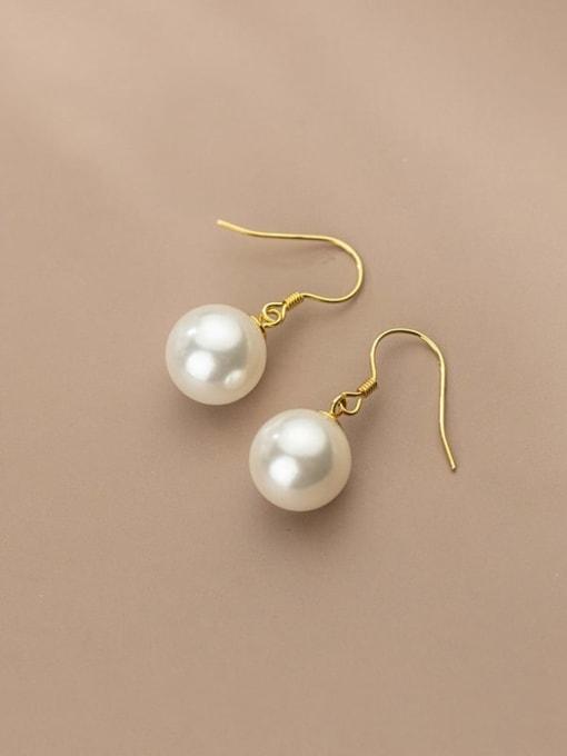 Rosh 925 Sterling Silver Imitation Pearl Ball Minimalist Hook Earring 1