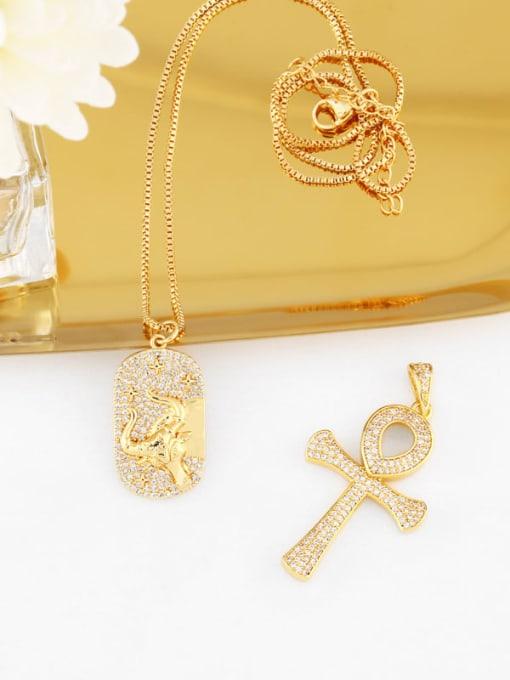 CC Brass Cubic Zirconia Cross Hip Hop Necklace 0