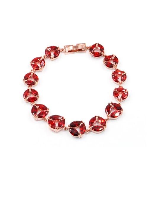 DUDU Brass Cubic Zirconia Geometric Dainty Bracelet