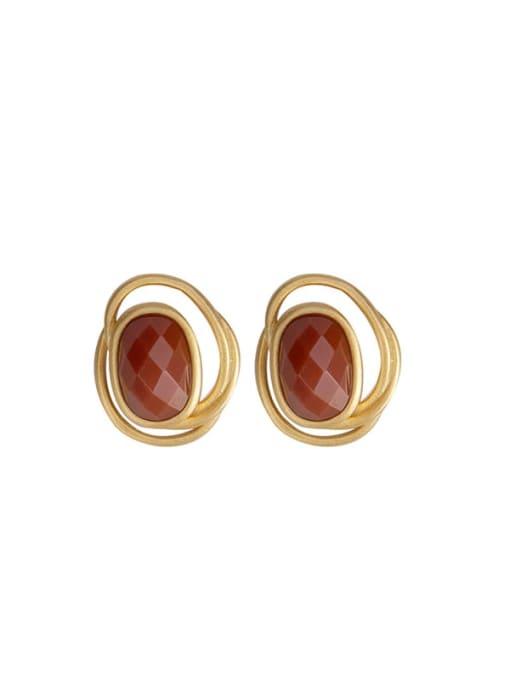 DEER 925 Sterling Silver Carnelian Geometric Vintage Stud Earring 0