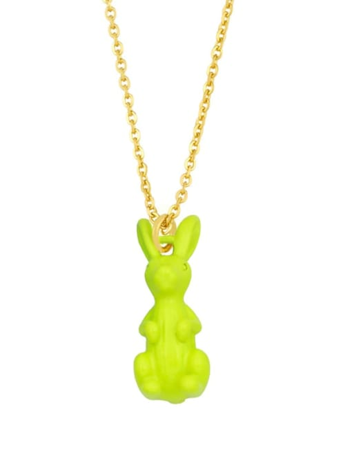 yellow Brass Enamel Rabbit Vintage Necklace