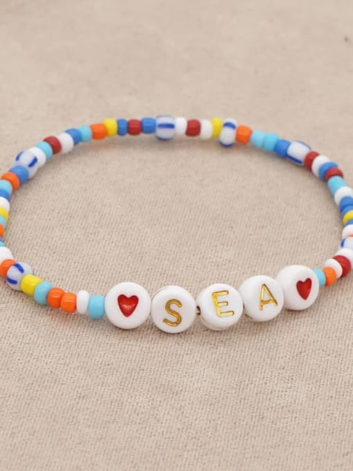 Roxi Stainless steel MGB Bead Multi Color Letter Bohemia Stretch Bracelet 2