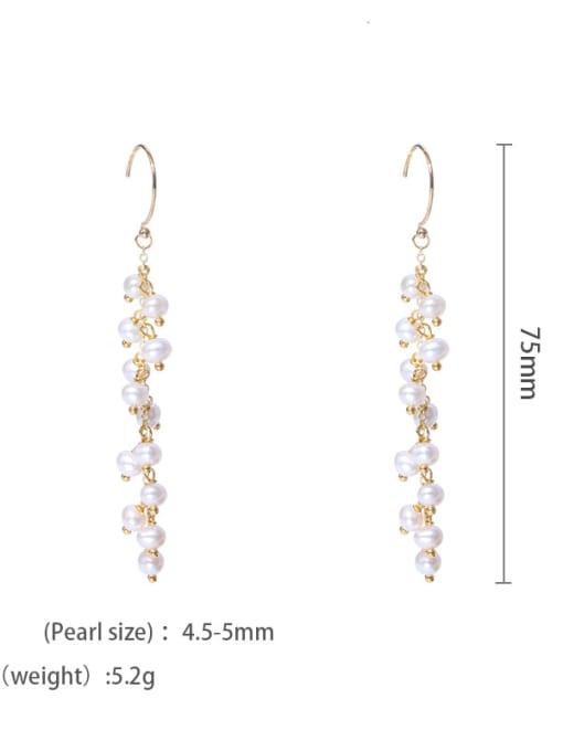ear hook Brass Freshwater Pearl Geometric Minimalist Hook Earring