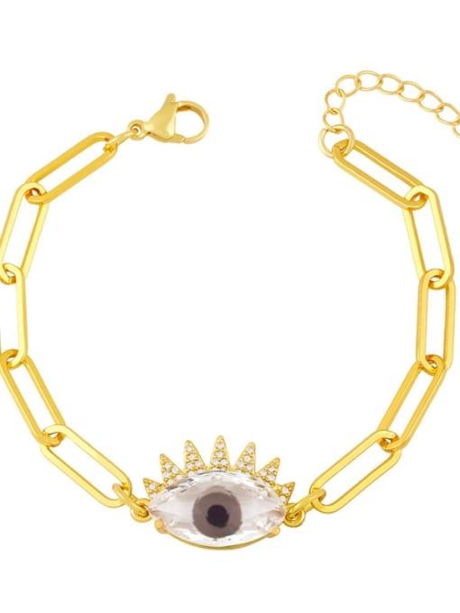 grey Brass Enamel Evil Eye Vintage Link Bracelet