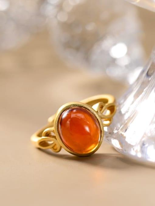 DEER 925 Sterling Silver Garnet Oval Vintage Band Ring 2