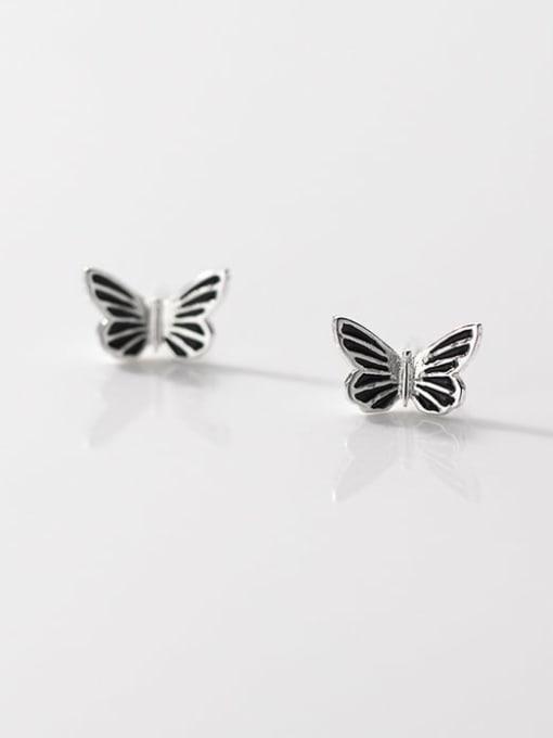 Rosh 925 Sterling Silver Butterfly Vintage Stud Earring