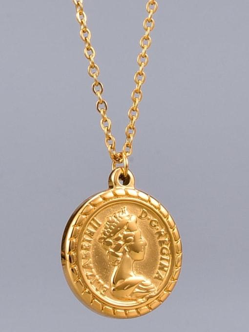 A TEEM Titanium Round Vintage pendant Necklace 0