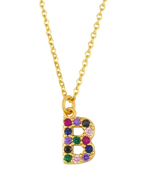 B Brass Cubic Zirconia Letter Vintage Necklace
