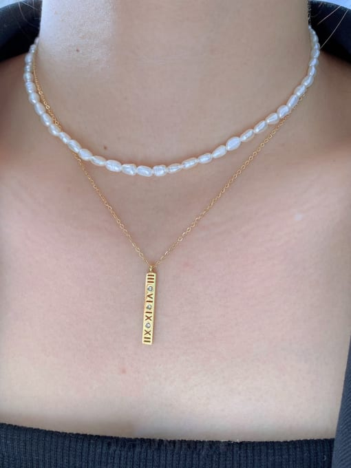 LI MUMU Titanium Steel Freshwater Pearl Geometric Minimalist Multi Strand Necklace 0