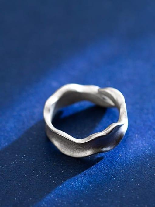 Rosh 925 Sterling Silver Smooth Irregular Vintage Free Size Ring
