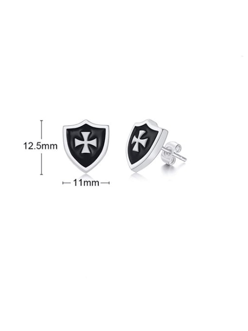CONG Titanium Steel Enamel Cross Hip Hop Stud Earring 1