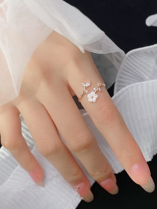 Rosh 925 Sterling Silver Resin Flower Minimalist Band Ring 2