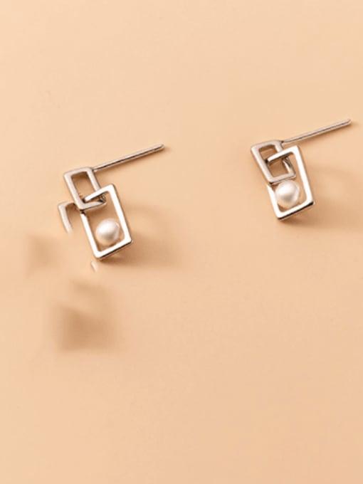 Rosh 925 Sterling Silver Imitation Pearl Geometric Minimalist Drop Earring 3