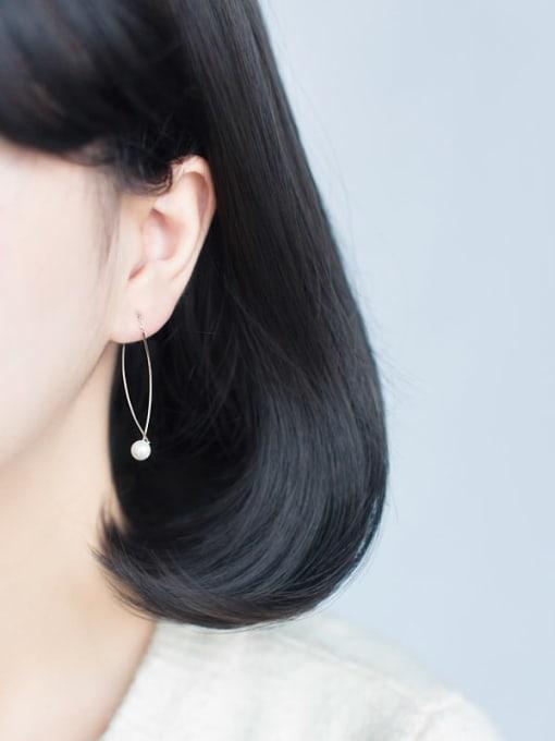 Rosh 925 Sterling Silver Imitation Pearl  Irregular Minimalist Drop Earring 1