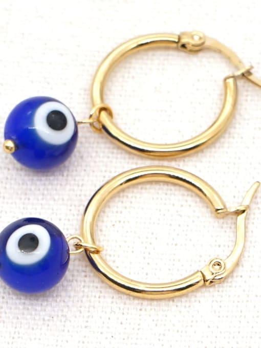 C E200004C Stainless steel  MGB Bead Multi Color Evil Eye Bohemia Huggie Earring