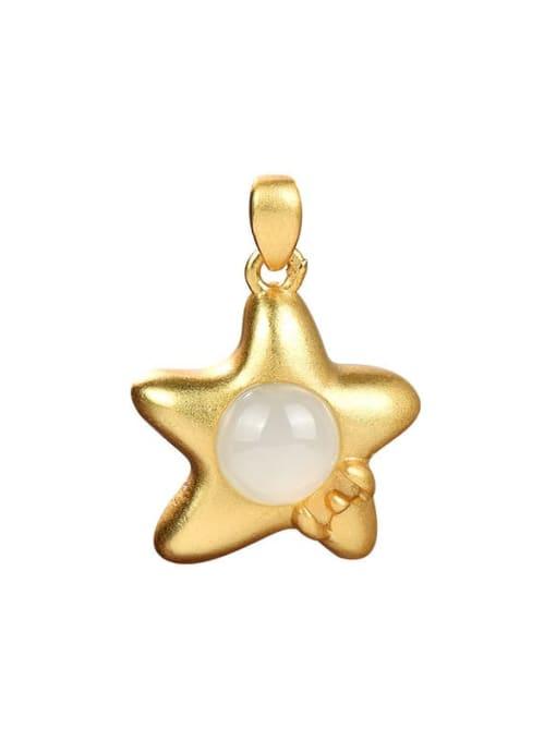 DEER Star 925 Sterling Silver Jade Vintage Pendant 0