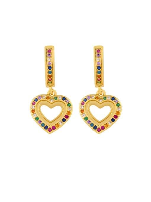 CC Brass Cubic Zirconia Heart Dainty Huggie Earring 2