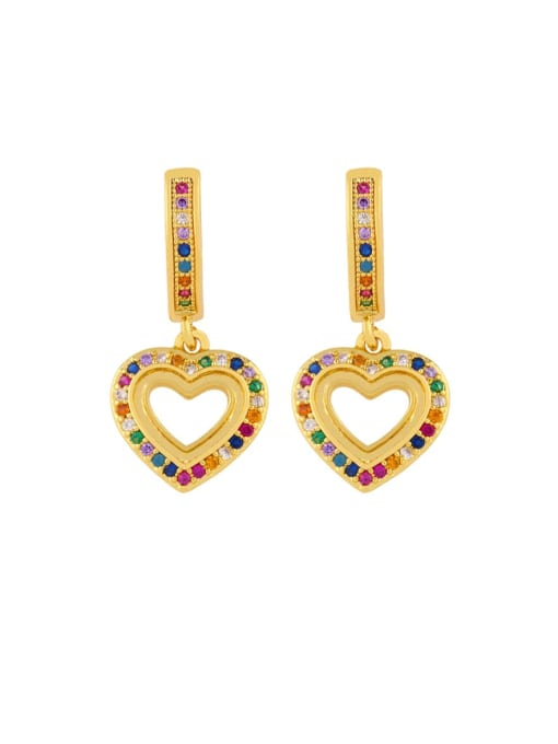 heart-shaped Brass Cubic Zirconia Heart Dainty Huggie Earring