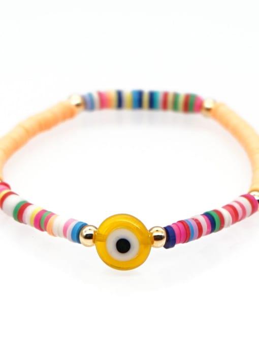 QT B200107H Stainless steel Multi Color Polymer Clay Evil Eye Bohemia Stretch Bracelet