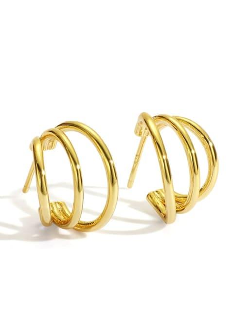 Gold Multi Loop Earrings Brass Geometric Minimalist Stud Earring