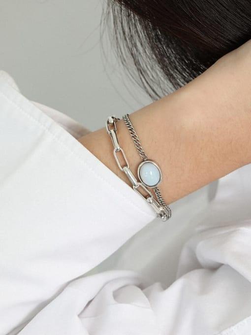 DAKA 925 Sterling Silver Cats Eye Geometric Vintage Link Bracelet 3