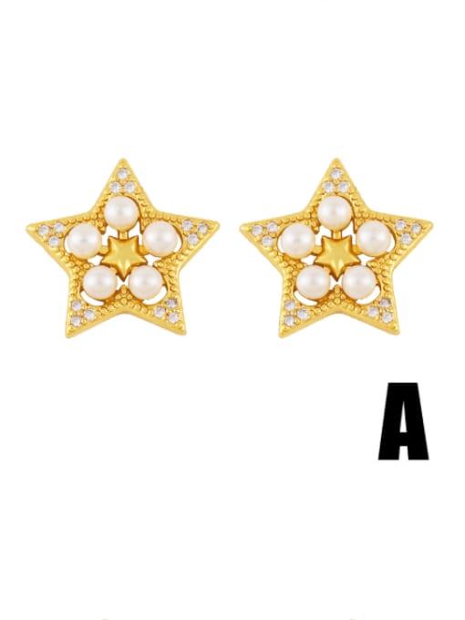 A Brass Cubic Zirconia Star Vintage Stud Earring