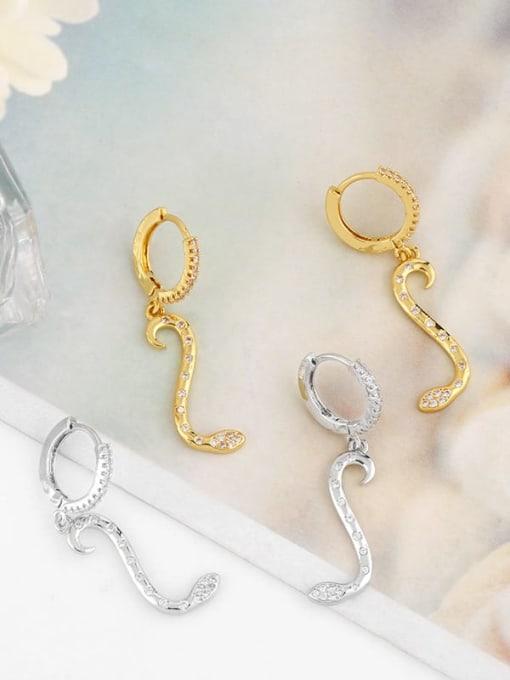 CC Brass Cubic Zirconia Snake Minimalist Drop Earring 3