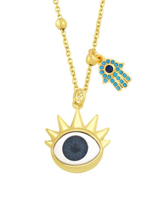 B (dark grey) Brass Enamel Evil Eye Vintage Palm Pendant Necklace