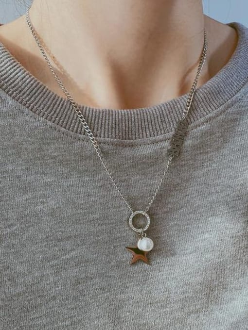 Open Sky Titanium Steel Imitation Pearl Letter Hip Hop Necklace 1
