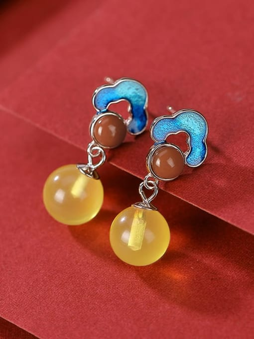 DEER 925 Sterling Silver Jade Flower Vintage Drop Earring 1