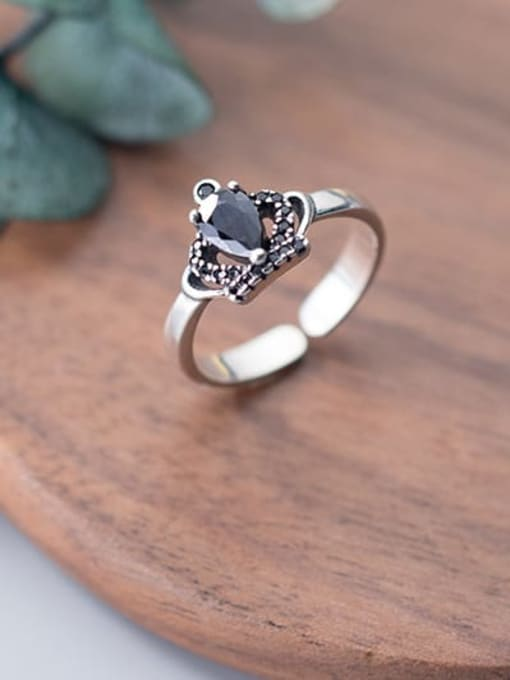 Rosh 925 Sterling Silver Cubic Zirconia Crown Vintage Band Ring 2