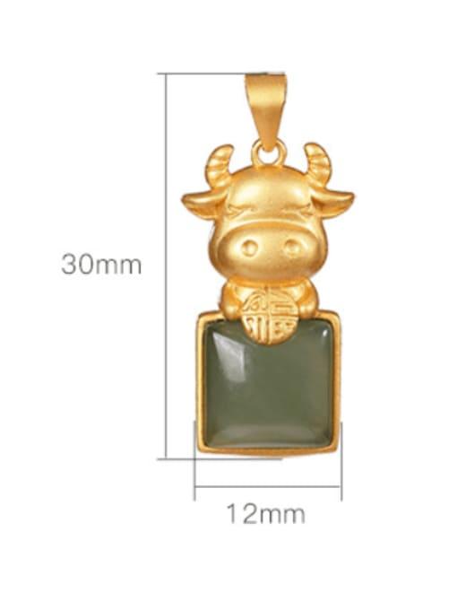DEER 925 Sterling Silver Jade Cute Zodiac Cow Pendant 3