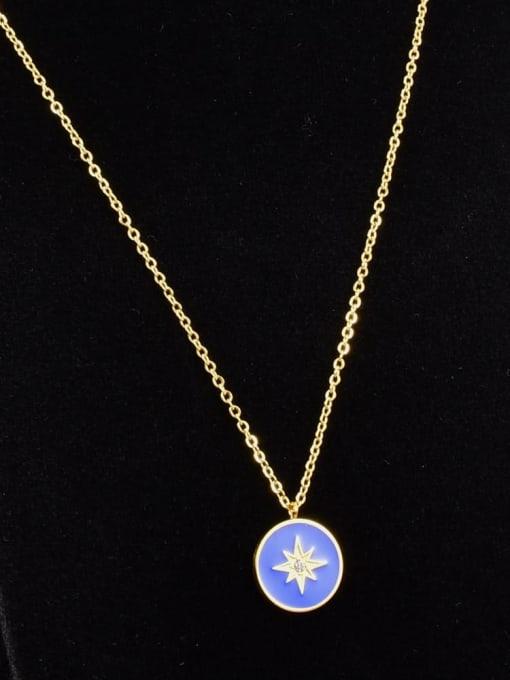 A TEEM Titanium Steel Enamel Round Vintage Necklace 0