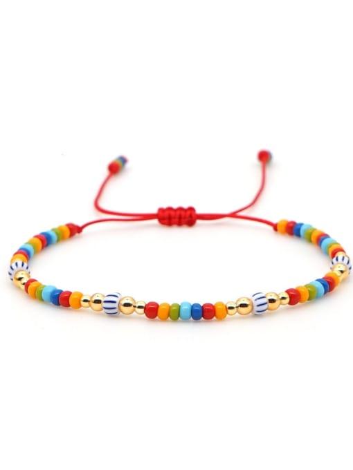 QT B200031A Stainless steel Miyuki beads Multi Color Geometric Bohemia Adjustable Bracelet
