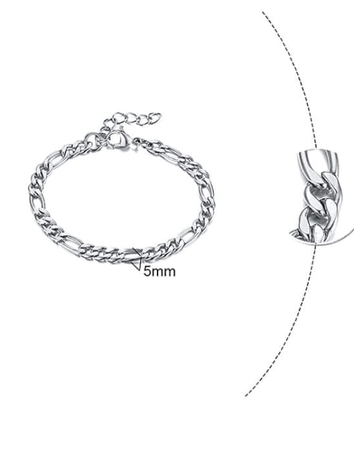 Steel color 5mm Titanium Steel Geometric Minimalist Link Bracelet