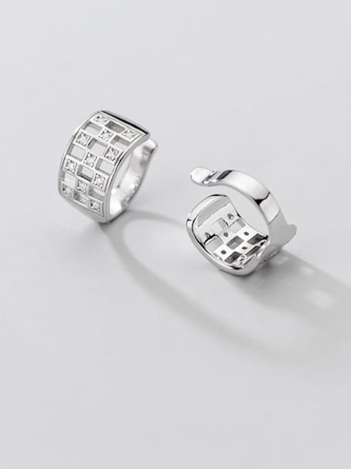Rosh 925 Sterling Silver Cubic Zirconia Hollow square Vintage Huggie Earring 2