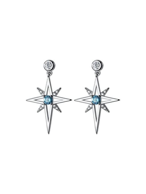 Rosh 925 Sterling Silver Cubic Zirconia Star Minimalist Drop Earring 3