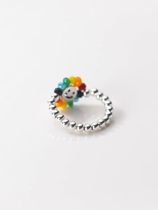 Rosh 925 Sterling Silver Bead Flower Minimalist Band Ring 3