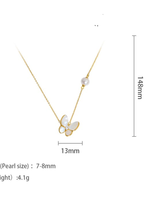 Necklace Brass Shell Cute Butterfly  Braclete and Necklace Set