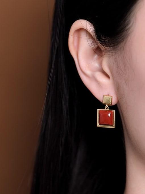 DEER 925 Sterling Silver Carnelian Geometric Vintage Drop Earring 1