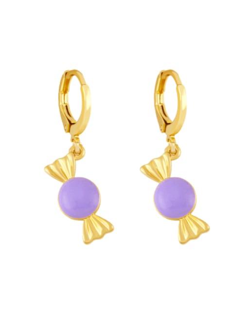 purple Brass Enamel Irregular Candy Trend Huggie Earring