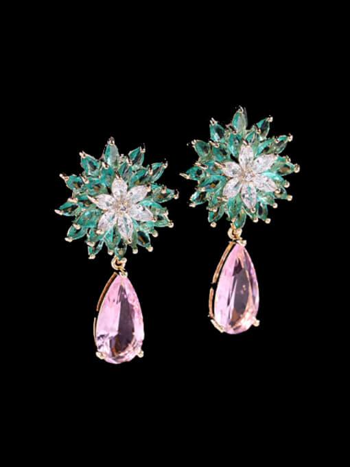 Green pink Brass Cubic Zirconia Water Drop Trend Drop Earring