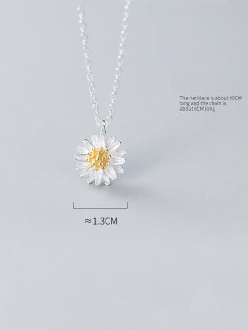 Rosh 925 Sterling Silver Simple Cute Little Daisy Pendant  Necklace 2