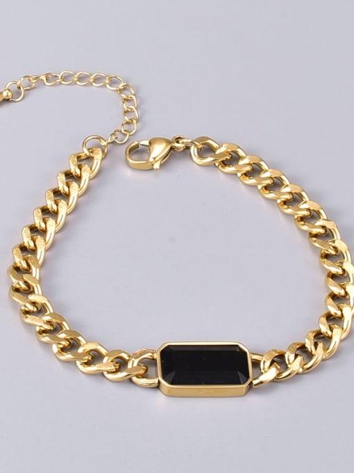 A TEEM Titanium Steel Glass Stone Geometric Vintage Bracelet 3